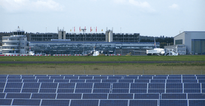 Saarbrucken Airport Terminal with Solar Panels located outside
