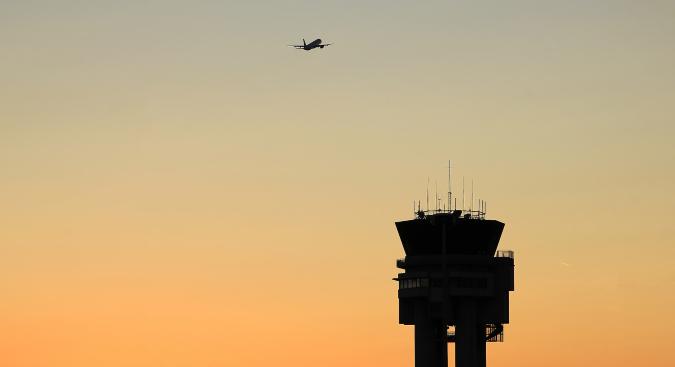 Air Traffic Control Tower and Plane Aeronautical Radio System