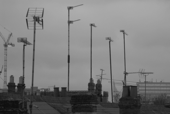 Aerials on rooftops in Reading, UK