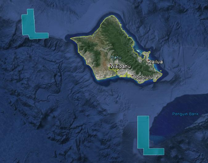 Proposed Oahu Northwest and Oahu South Floating Wind Farm areas, Hawaii