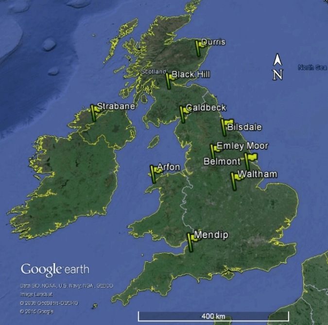 The top 10 TV Transmitters in the UK, and their locations on the British Isles.