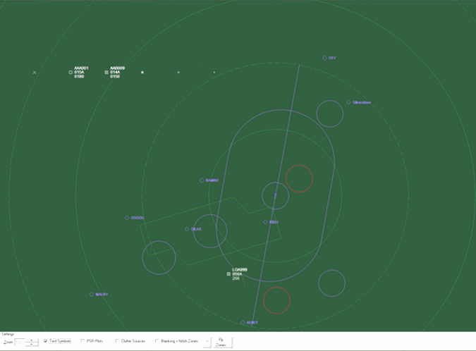 A Pager Power simulation of Thales STAR 2000 radar mitigation (Blanking Zones and Non-Auto Initiation Areas)