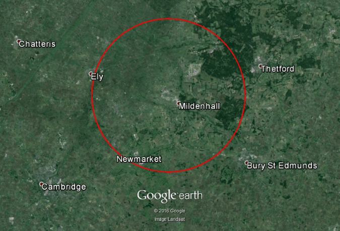 15km Radius around RAF Mildenhall, Suffolk. One of the MoD bases to be sold.