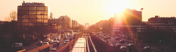 Traffic and Glaring Sun