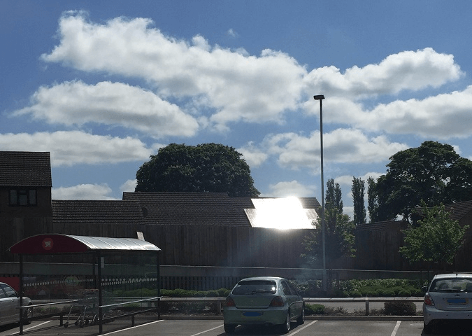 Glare from a solar PV rooftop