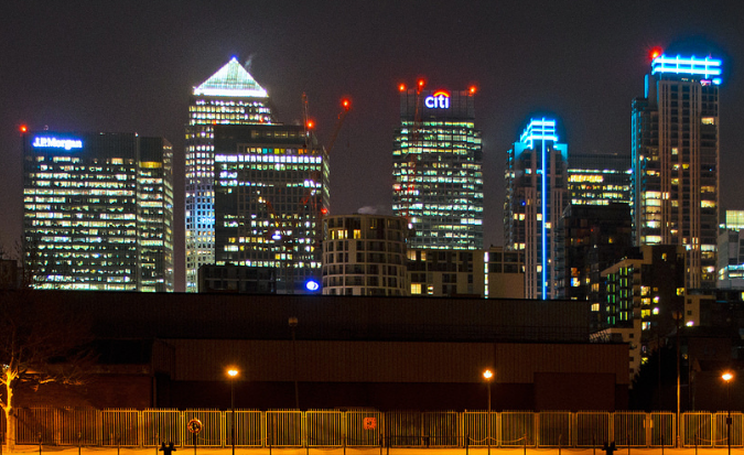 Canary Wharf Buildings with Aviation Lighting